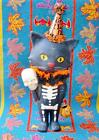 Bethany Lowe Halloween Black Cat in Party Hat Sour Puss Skeleton Parade Stick