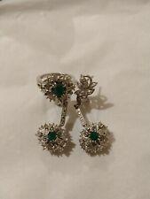 Palladium alloy Emerald Diamond Earrings Ring