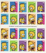 The Simpsons Sheet of 20 x 44-Cent Stamps, USA 2009, Scott 4399-4403 MINT