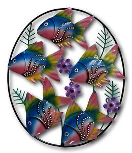 Colourful Fish Fun Wall Mountable Hand Made Bali Metal Art Nautical Beach Ocean