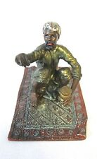 Antique Orientalist Vienna Bronze cold painted arab man on a rug (#935)