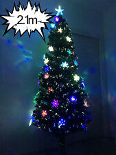 2.1m Fibre Optic LED Flashing Multi Colour High Density Christmas Xmas Tree