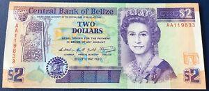 Belize - 2 Dollars 1.5.1990 P#52a Almost Uncirculated