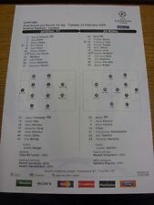24/02/2009 Colour Teamsheet: Arsenal v Roma [Champions League] (Tactical Line-up