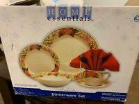 Beautiful Dinnerware Set Home Essentials Poinsettia Scrolls Holiday 20  Pc.