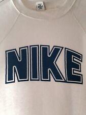 Vtg 70s 80s RARE Nike Dome Block Letters Tri Blend Rayon OG White Sweat Shirt S