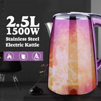2.5L 1500W Electric Kettle Water Heater Boiler Stainless Steel Cordless Tea