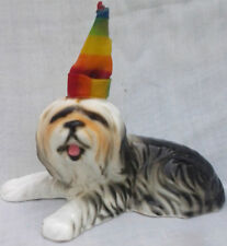 Old English Sheepdog Bearded Collie Ceramic Figurine with Party Hat Enesco 1986