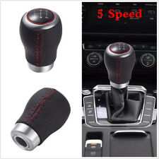 Black Red Stitching 5 Speed Car Gear Stick Shift Knob Maunal Shifter Lever Cover
