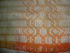 "Vintage Mid Century Net Netting Mesh Orange Curtain Fabric Remant 25"" x 35"""