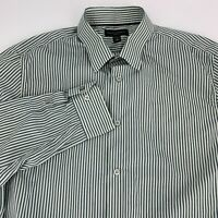 Banana Republic Mens Slim Fit Long Sleeve Button Down Shirt Size L Green Stripe