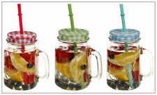 6 X CLEAR LARGE GLASS MASON JAM JARS DRINKING SUMMER COCKTAIL JAR HANDLE & STRAW