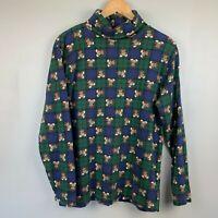 Vintage Womens Turtle Neck Shirt Large Box Plaid Teddy Bear Merry XMas Christmas