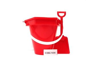 3 Small  Red Sand Buckets, Shovels & I Dig You Stickers Made in America*