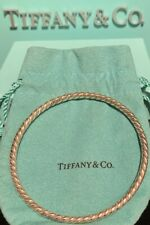 Tiffany&Co Sterling 18k Bangle Bracelet Twisted Rope Design with Box & Pouch