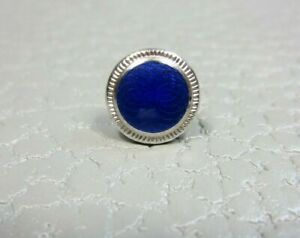 Vintage Blue Enamel White Gold Plated Tie Tac or Lapel Pin