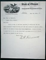 Secretary of State Kincaid 1897 Letter Oregon City Senator re State Asylum Job