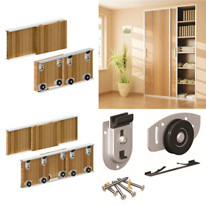 ARES Sliding Wardrobe Door Gear Track Kit DIY Bottom Roll Roller Doors 70kg