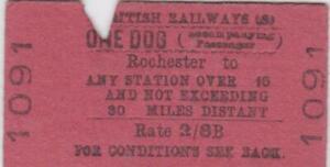 British Railways Ticket ROCHESTER 1091