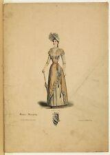 Stampa antica MODA FRANCESE DONNA con ABITO ocra con PIZZI RICAMI 1885 Old Print