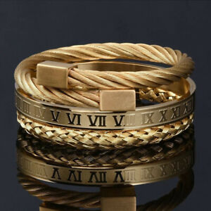 Luxury Stainless Steel Roman Number Wristband Bangle Twist Cable Wire Bracelets