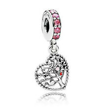 Heart Tree European CZ Crystal Charm Silver Spacer Beads Fit Necklace Bracelet