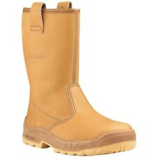 JALLATTE SIZE 4 - 37 JALARTIC BROWN SLIP ON SAFETY TOE CAP RIGGER BOOTS J0257