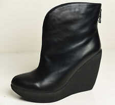 Carlo Pazolini Michael Kors style - Black Leather Wedged Shoes Ankle Boots US 8