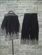 Size XS 6 8 Zara Co Ord Set Bardot Top Culottes Trousers Black White Boho Hippy
