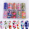10 Rolls/box Nail Foils Colorful Flowers Nail Art Transfer Stickers Decals Tips