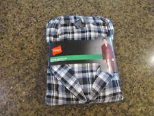 Hanes Men's 2XL woven Flannel Pajama Set Long Sleeve Plaid Gray shirt Pants NWT