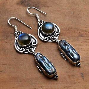 "Biwa Pearl Labradorite Handmade Drop Dangle Earrings Jewelry 2.48"" AE 17127"