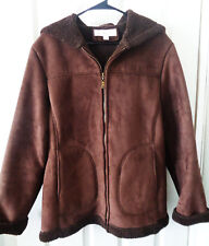 Jones New York Jacket Chocolate Faux Suede Hooded Fleece Lined Coat Womens Med