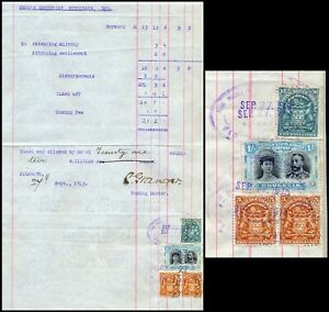 RHODESIA BSAC 1913 ACC. PAGE DOC., 1/, P14 DOUBLE HEADS & ARMS AS FISCALS #B211