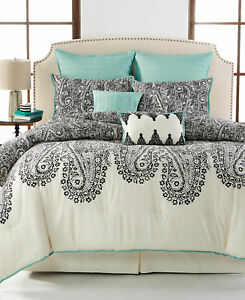 Sunham Bedding Dover Paisley 8-Piece QUEEN Comforter Set Black/Beige