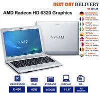 """SONY VAIO VPCyb3v1e 11.6"""" Grey Laptop AMD 1.65Ghz 4GB RAM 160GB HDD Windows 10"""