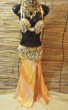 Egyptian Belly Dance Costume bra & Skirt Set New Professional Dancing Orange G
