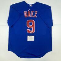 Autographed/Signed JAVIER BAEZ Chicago Cubs Blue Authentic Jersey Fanatics COA