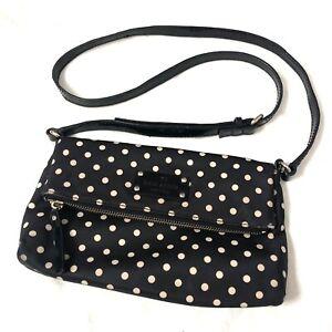 Authentic Kate Spade Aleah Black Polkadot Crossbody Nylon Women Purse Bag