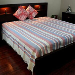 Heavy Cotton Ribbed Striped Tapestry Spread 98x88 inches Beige Tan Red Green