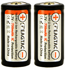 2x EagleTac 16340 RCR123A Li-ion 3.7V Protected Rechargeable Battery CR123A