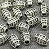 6pcs of 925 Sterling Silver Checked Barrel Beads Bracelet Spacer