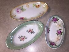 Lot of 3 Vintage Floral Painted Porcelain Bowls / Plates - Early 1900's Germany