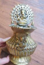 Rare Antique Brass Bronze Sukunda Nepalese Ganesh Oil Lamp Nepal with Skulls