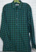 Men's Bugatchi Uomo Button Front Green Plaid Shirt Size 15.5 Medium Long Sleeve