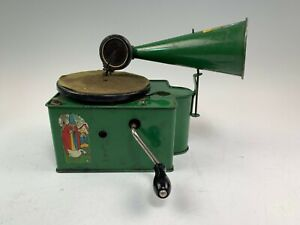 Antique Genola Baby Tin Cabinet Toy Phonograph Player, Wind Up, Nursery Rhymes