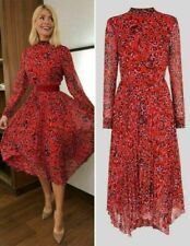 BNWT Whistles Red Multi Jungle Cat Pleated Midi Calf Dress Size UK 16 44 12 ASO