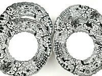 Set of 4 Wiccan Lace 222 Fifth White Black Fine Porcelain Dinner Plates 10""