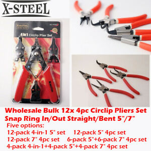 """Wholesale Bulk 12x 4pc Circlip Pliers Set Snap Ring In/Out Straight/Bent 5""""/7"""""""