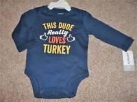 Carters Baby Boy Thanksgiving Loves Turkey Bodysuit Size 3 Months 3M NWT 0-3